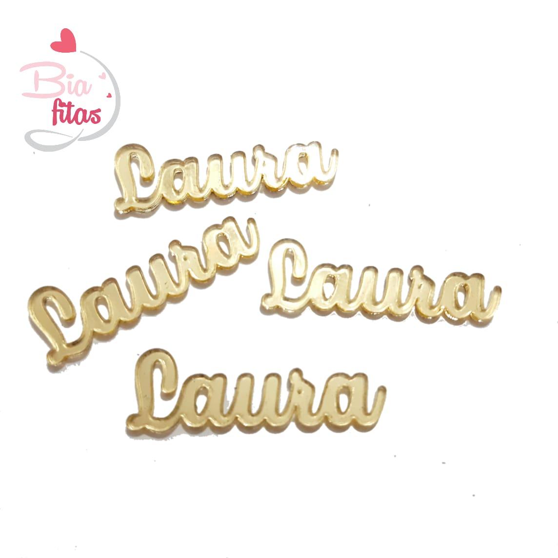Nome Simples em Acrilico Dourado Espelhado - Laura