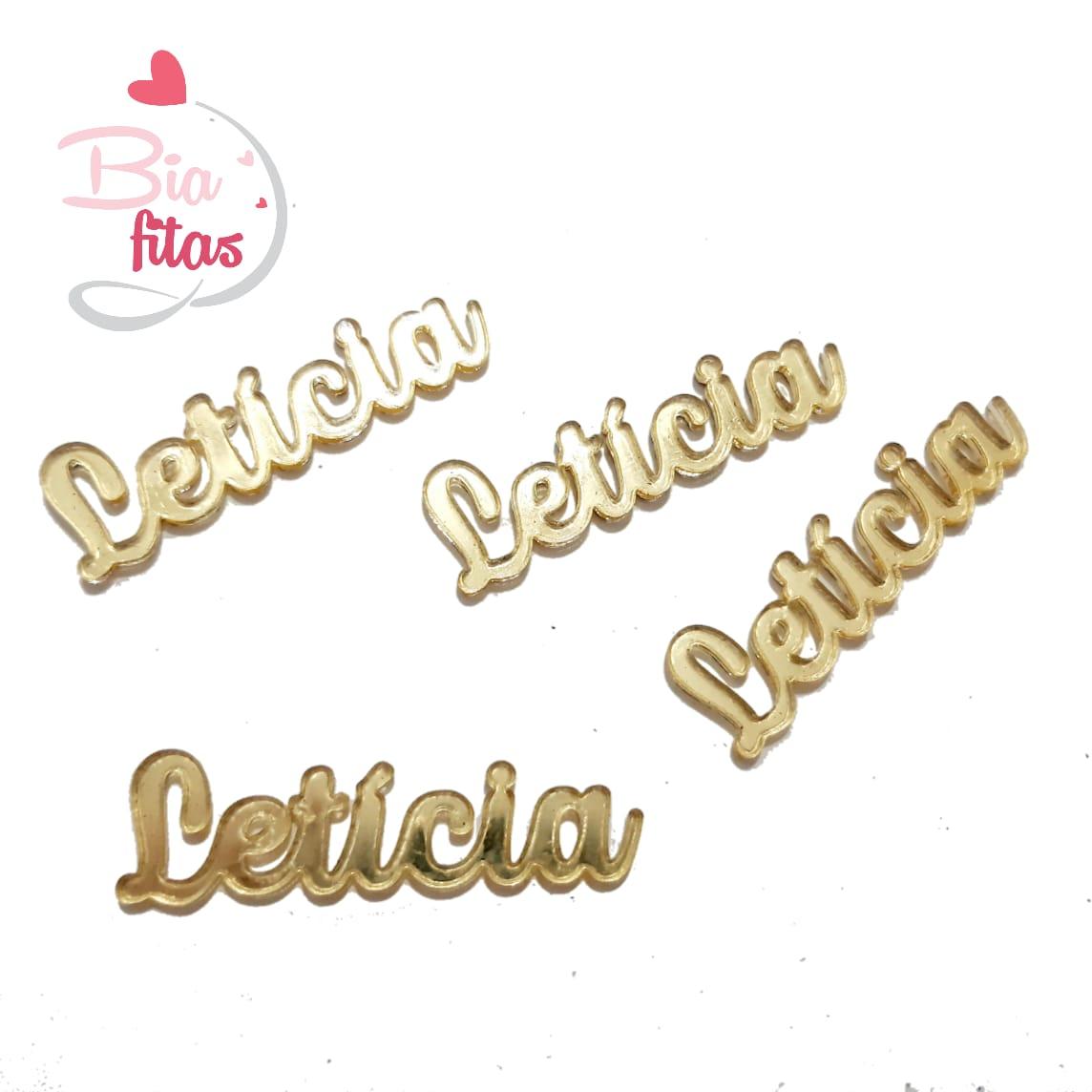 Nome Simples em Acrilico Dourado Espelhado - Letícia