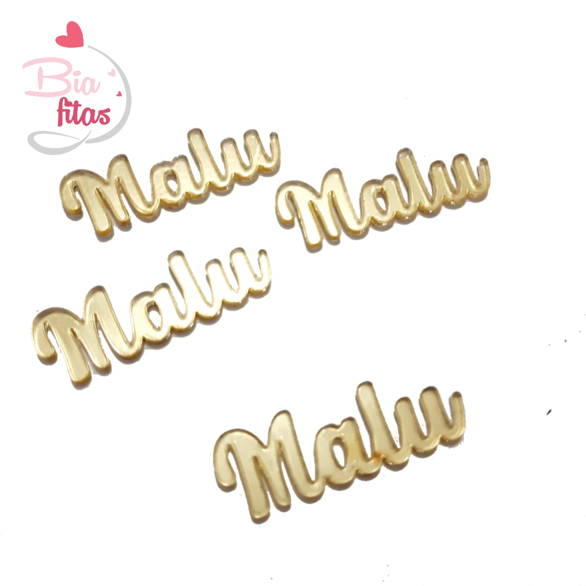 Nome Simples em Acrilico Dourado Espelhado - Malu