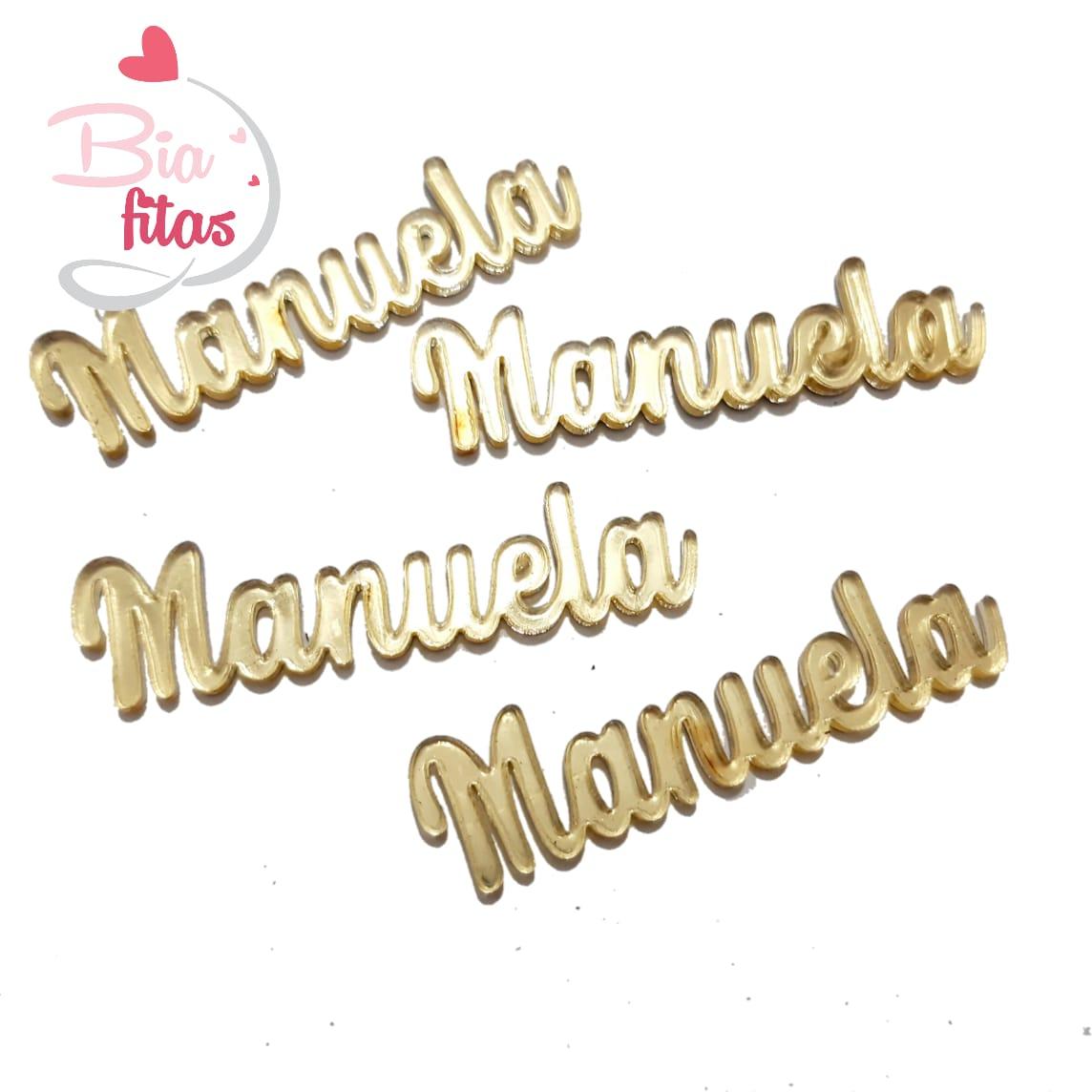 Nome Simples em Acrilico Dourado Espelhado - Manuela