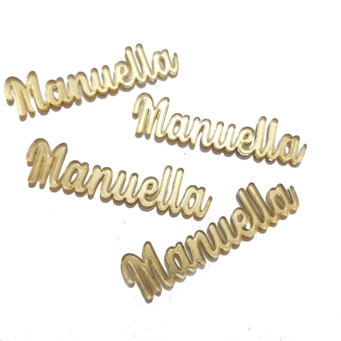 Nome Simples em Acrilico Dourado Espelhado - Manuella