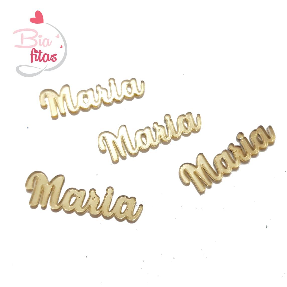 Nome Simples em Acrilico Dourado Espelhado - Maria
