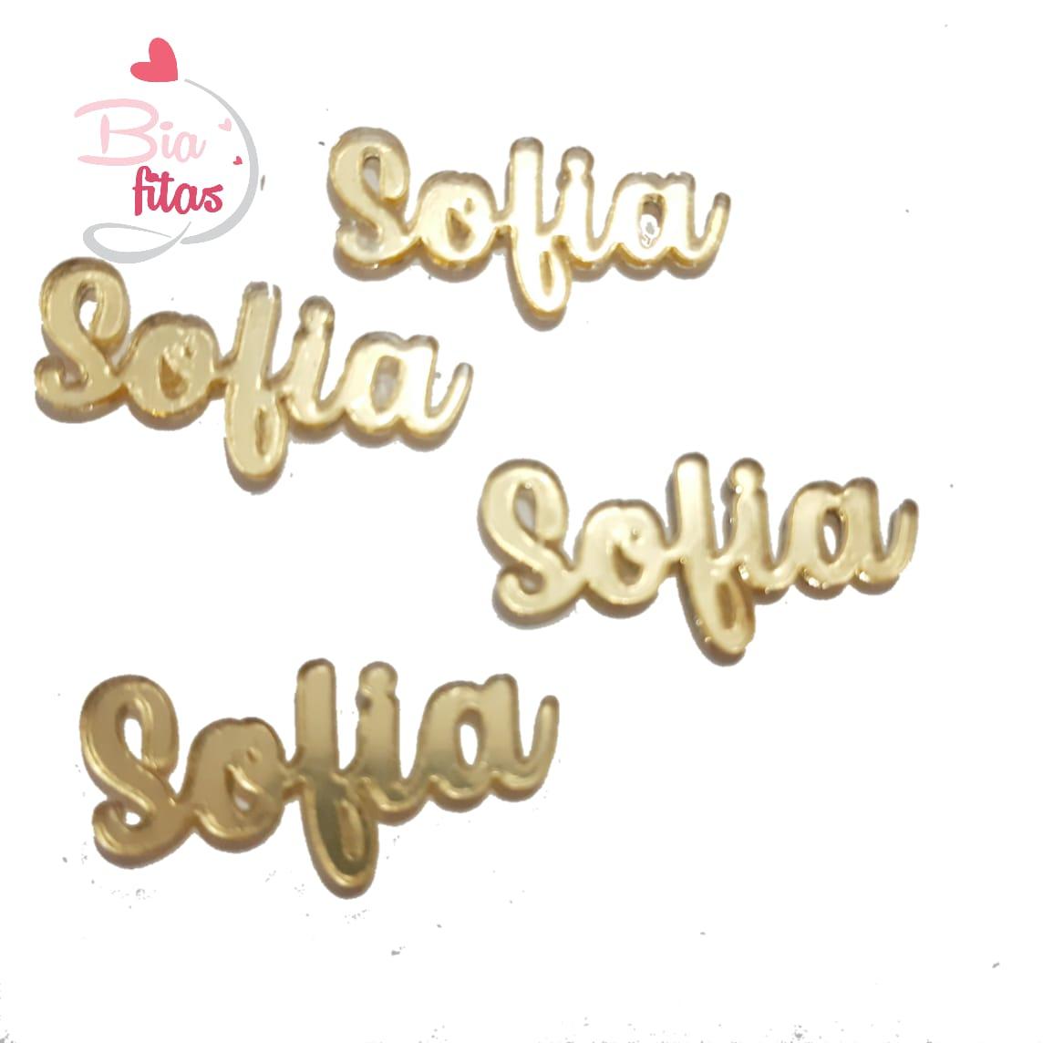 Nome Simples em Acrilico Dourado Espelhado - Sofia