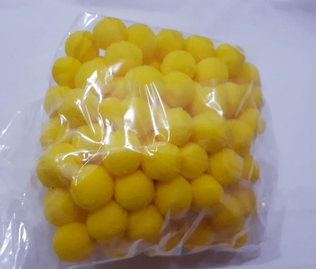 Pom Pom 10mm Amarelo (Pacote com 100 unidades)