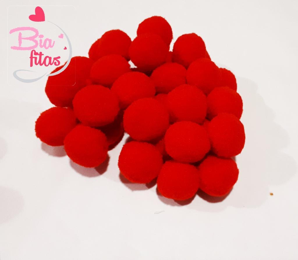Pom Pom Vermelho 20mm (Pacote com 50 unidades)
