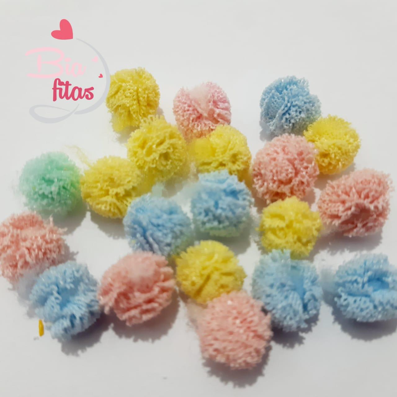 Pompom de Malha Cores Candy Sortidas  10mm (Pacote com 20 unidades)