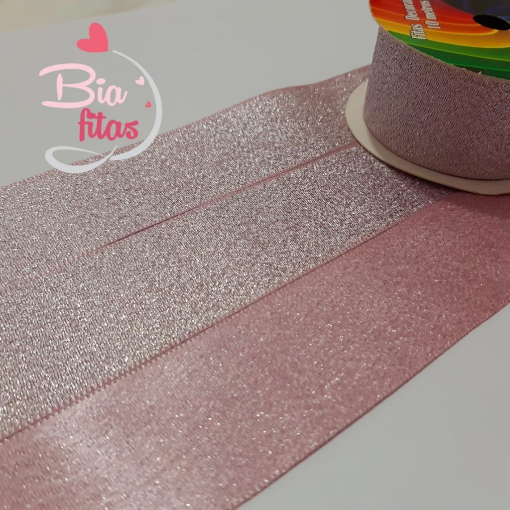 Sinimbú Cetim com Glitter Rosa 38/04 - 5 metros