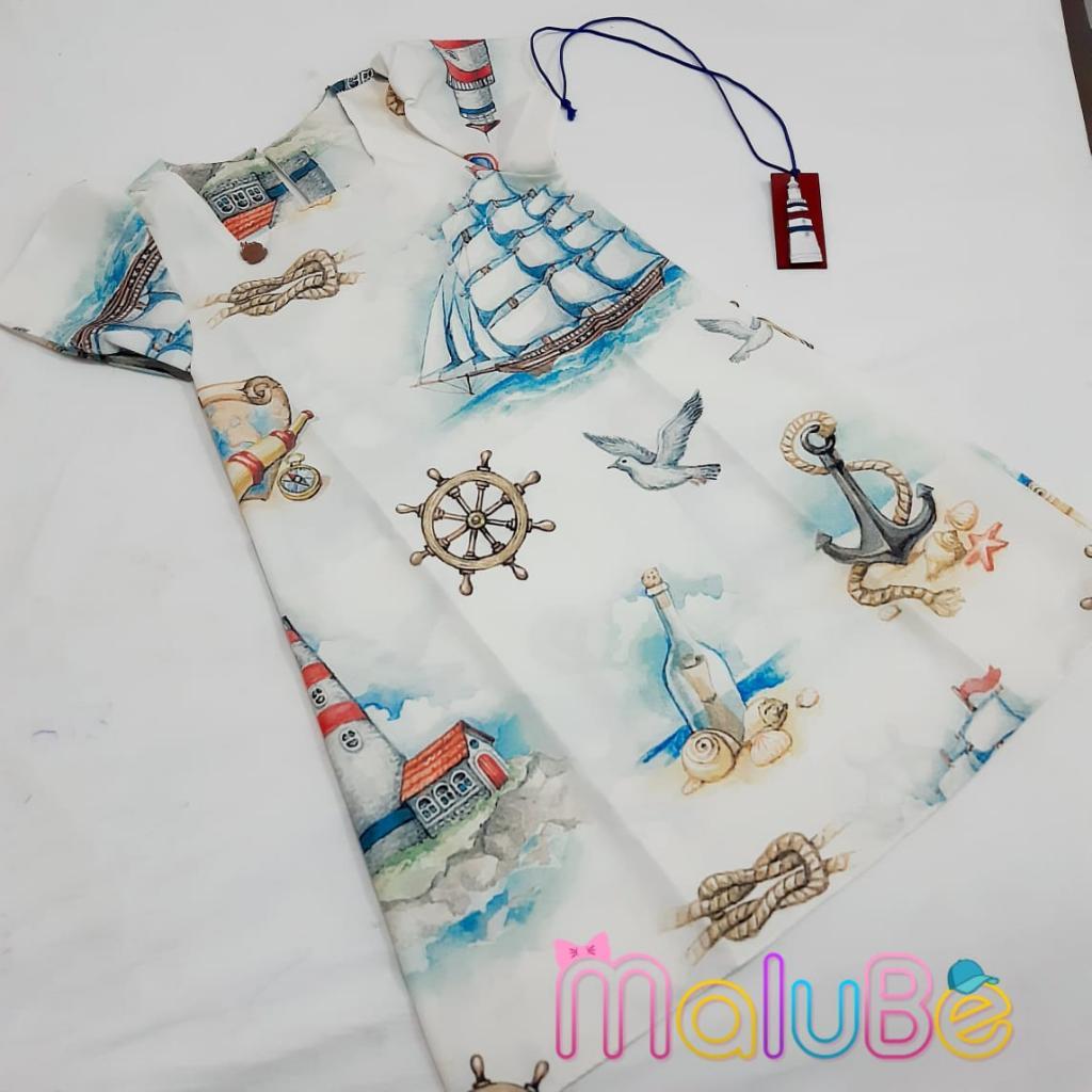 Vestido Crepe Barcos com Colar
