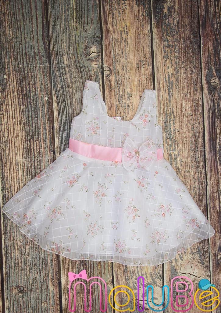 Vestido de Organza Estampa Floral Rosa