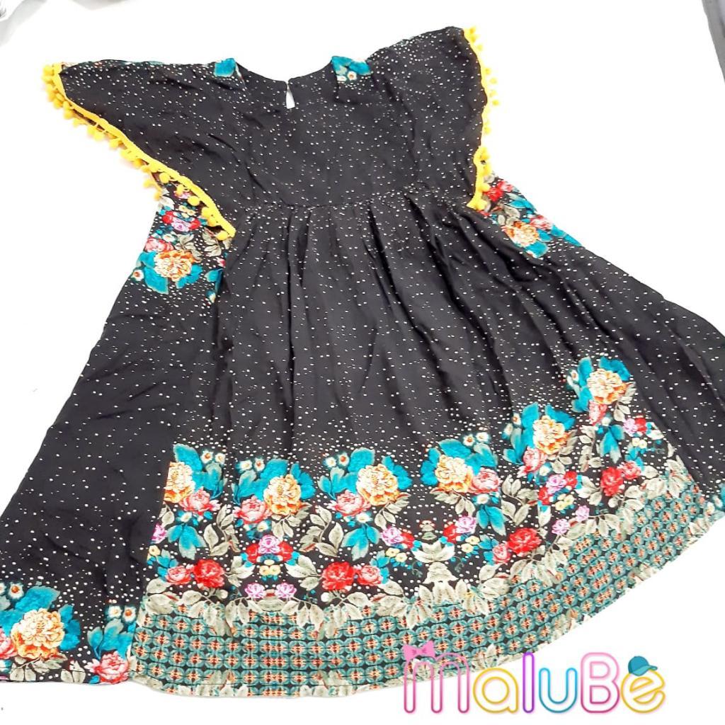 Vestido PomPom Preto Flores
