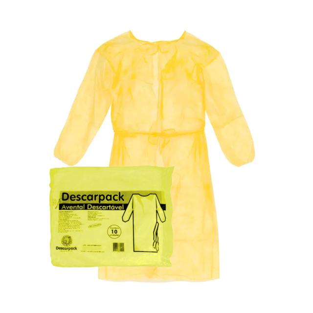Avental Descartável Especial Amarelo Descarpack 10 Unidades