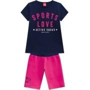 Conjunto Feminino Infantil Blusa E Short Linha Moving - Kyly - 110360