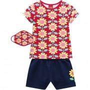 Conjunto Feminino Infantil Floral com máscara e short moletinho leve - Kyly - 110477