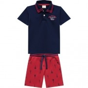 Conjunto masculino Camiseta polo e bermuda sarja - Milon - 12860