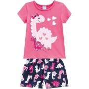 Pijama Feminino Infantil Dino Alto Relevo Rosa - Kyly - 110329
