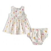 Vestido Com Calcinha Poá Colorido Bebê - Tiptop - 13200335