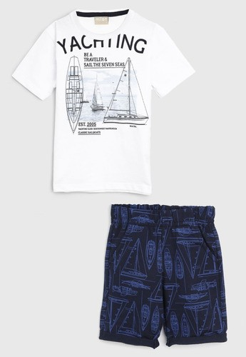 Conjunto Masculino Infantil Branco E Azul Marinho - Milon - 12459