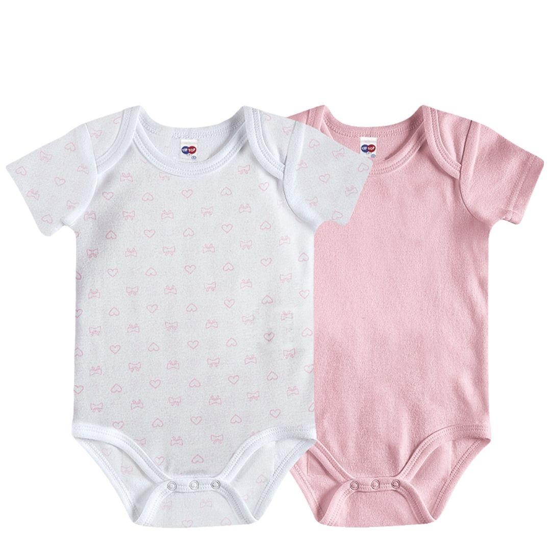 KIT 02 BODY BABY ESSENTIALS ESTAMPADO E ROSA - 1636505 TIP TOP