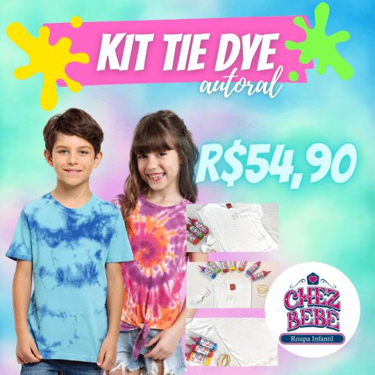 Kit Tie Dye Infantil Tamanho Do 3 A 12 - Camiseta + 3 Tintas