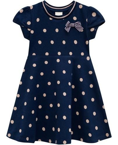 Vestido Poá Azul Marinho Com Laço - Milon - 12355