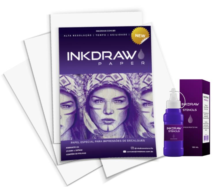 INKDRAW STENCILS - TINTA PARA DECALQUE - 130ML + PAPEL INKDRAW A4 (50 FOLHAS)