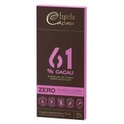 Tablete chocolate 61% cacau - zero açúcar - 80g - caixa c/ 10 un.