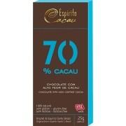 Tablete chocolate 70% cacau  - 25g - caixa c/ 10 un.