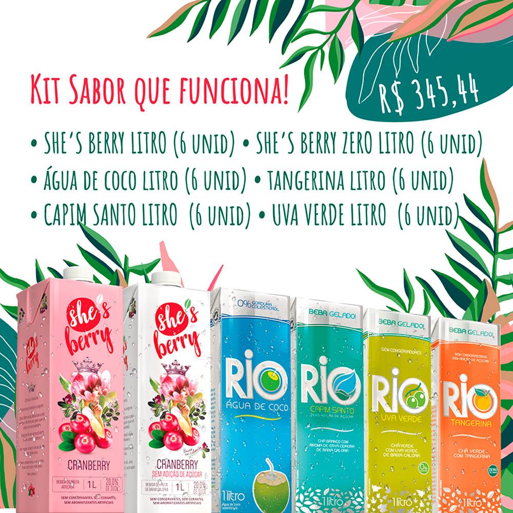 Kit Sabor que Funciona: Cranberry + Cranberry Zero + Agua de Coco + Chás Tangerina, Capim Santo e Uva