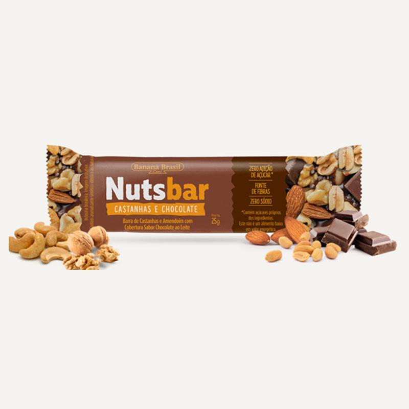 NUTS BARRA CASTANHA COM CHOCOLATE (cx. com 12 unidades)