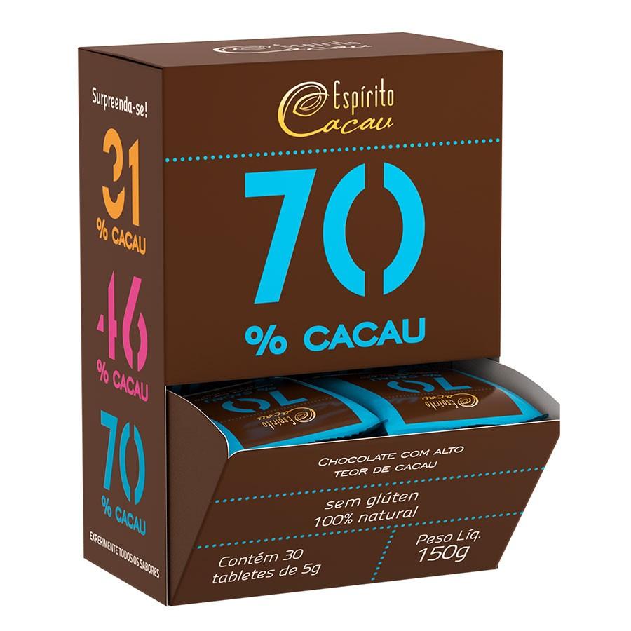 Tablete chocolate 70% cacau  - 5g - caixa c/ 30 un.