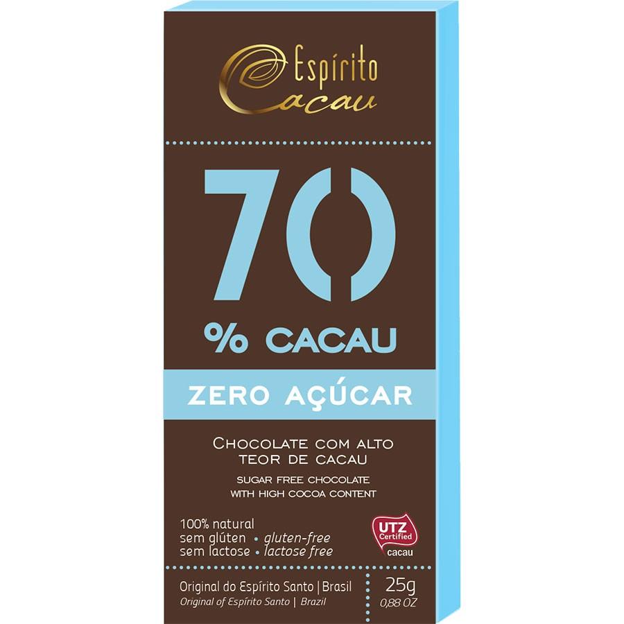 Tablete chocolate 70% cacau - zero açúcar  - 25g - caixa c/ 10 un.