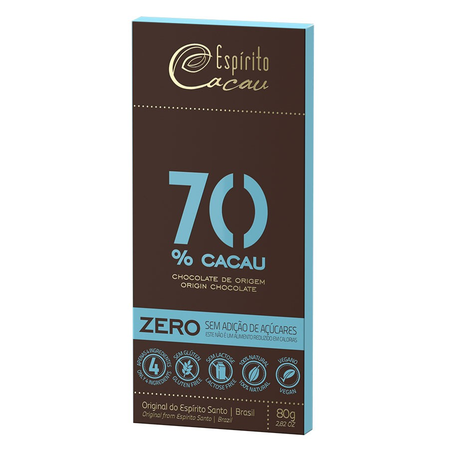 Tablete chocolate 70% cacau - zero açúcar  - 80g - caixa c/ 10 un.