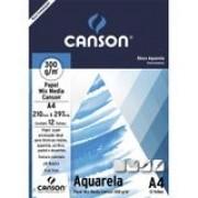 Bloco Canson Aquarela  Mix Media Linha Universitária 300g/m² A4 com 12 Folhas  66667180