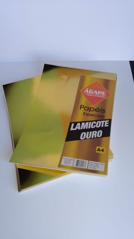 PAPEL LAMICOTE DOURADO 250G A4 C/25