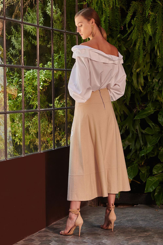 Blusa tricoline amarração ombro a ombro