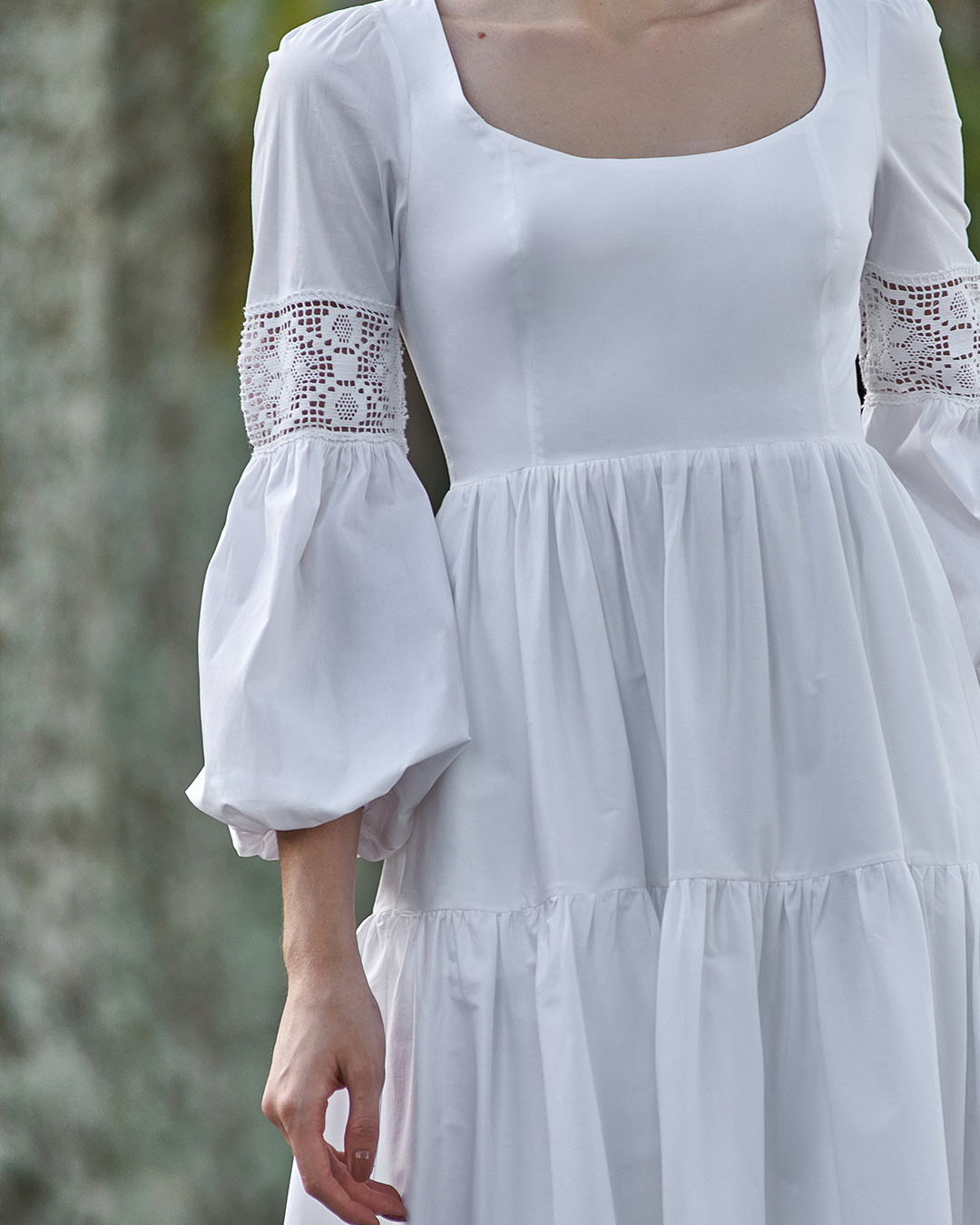 Vestido boho de tricoline com croche