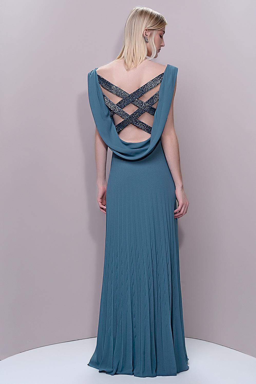 Vestido com saia plissada amarração lateral