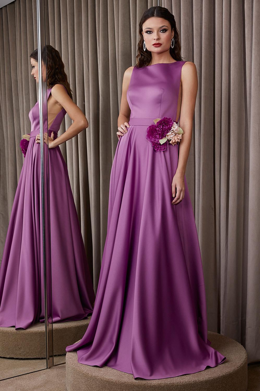 Vestido crepe com flor