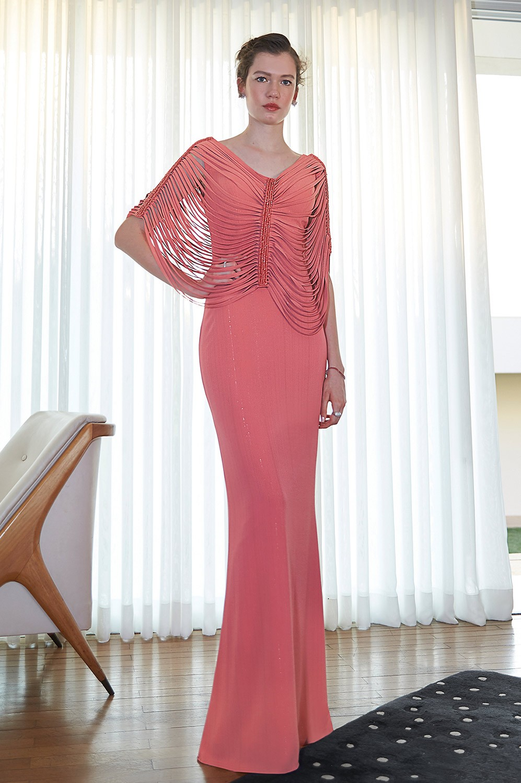 Vestido crepe lurex com blusa bordada