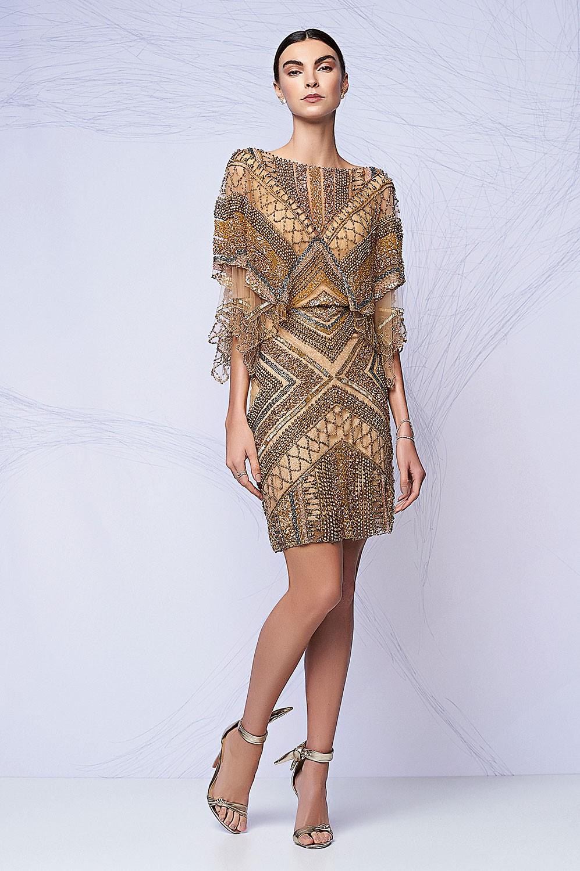 Vestido curto kafta bordado geométrico