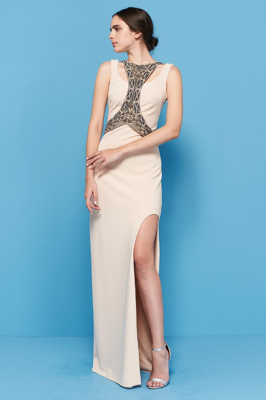 Vestido de malha com corsê bordado