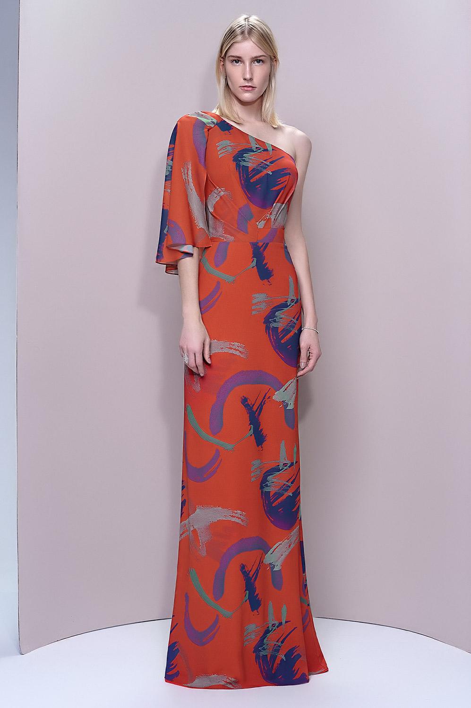 Vestido estampa manga assimétrica