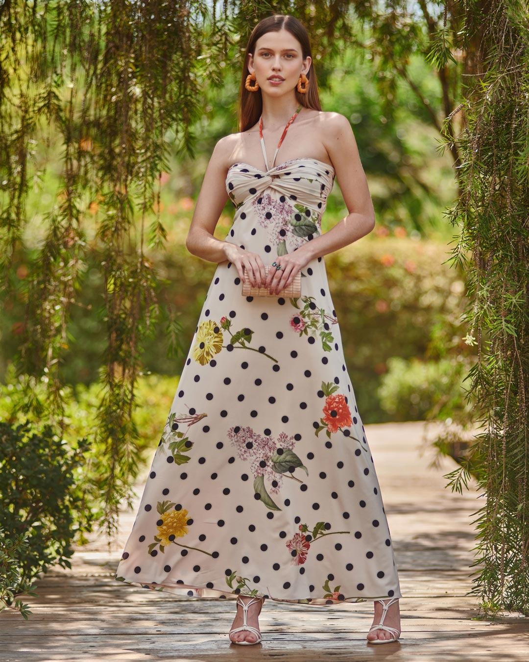 Vestido floral poá com busto torcido