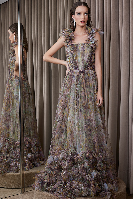 Vestido franzido florescer dos desejos