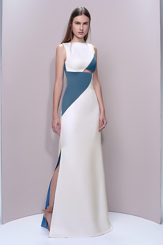 Vestido geométrico bicolor
