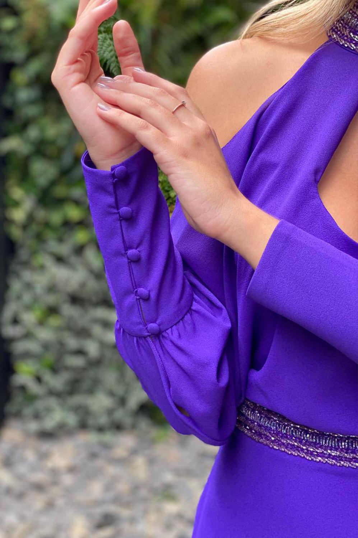 Vestido longo blusado com botões