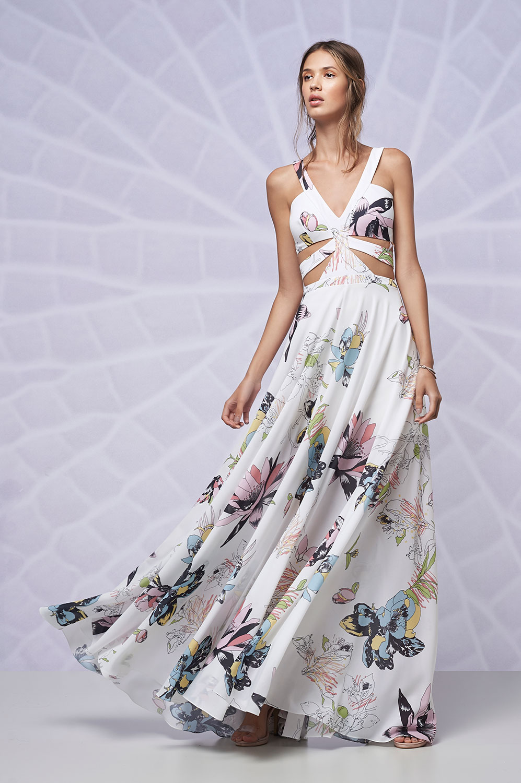 Vestido longo cintura vazada estampa