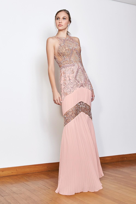 Vestido longo detalhe plissado