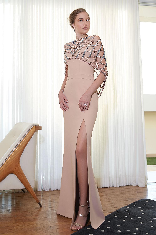 Vestido longo kafta tule bordado