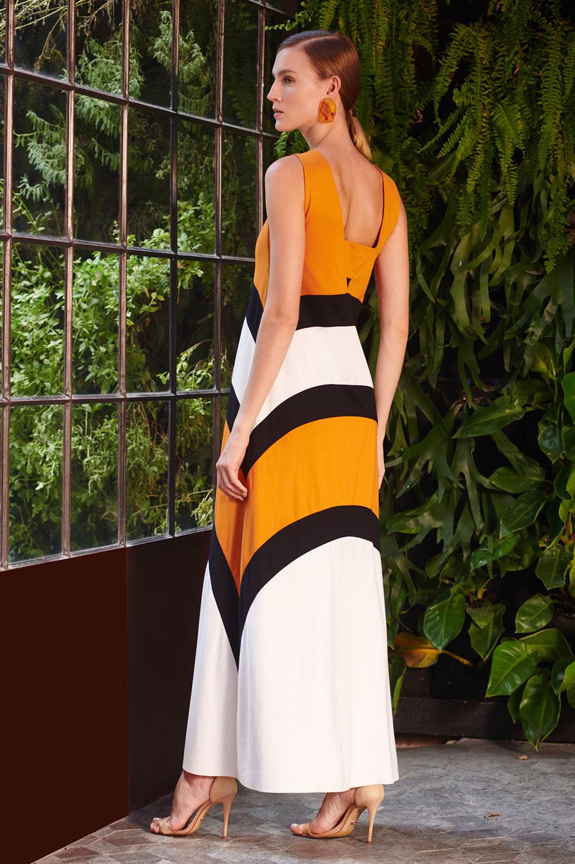 Vestido longo recortes geométricos tricolor malha block